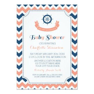 """Invitaciones de encargo náuticas azules coralinas invitación 5"""" x 7"""""""