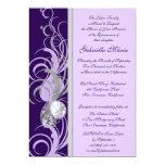 Invitaciones de encargo púrpuras y plateadas de invitación 12,7 x 17,8 cm