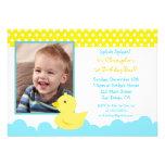 Invitaciones de goma del cumpleaños del pato anuncio personalizado
