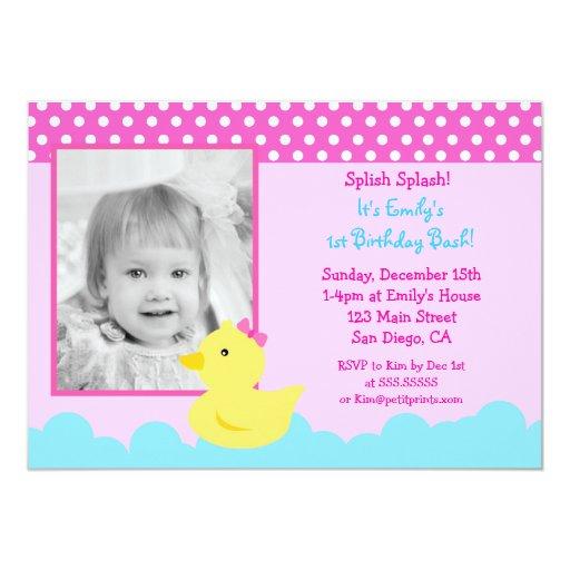 Invitaciones de goma del cumpleaños del pato anuncios personalizados