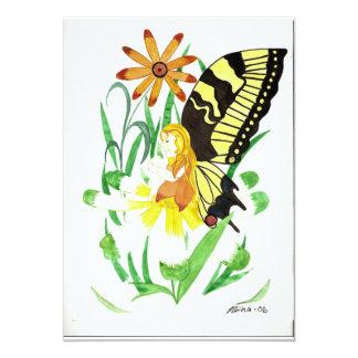 Invitaciones de hadas del fiesta de la mariposa invitación 12,7 x 17,8 cm