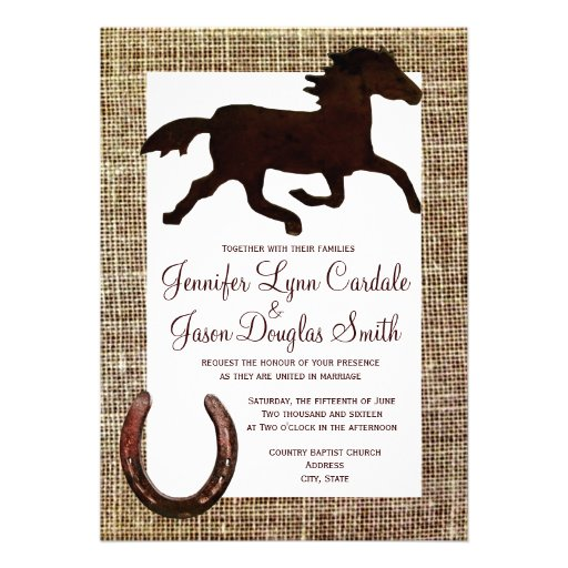 Invitaciones de herradura del boda del caballo occ invitaciones personales