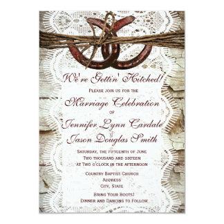 Invitaciones de herradura del boda del país invitaciones personales