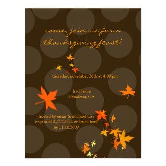 Invitaciones de la acción de gracias hojas de arc anuncio
