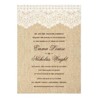 Invitaciones de la arpillera y del boda del cordón