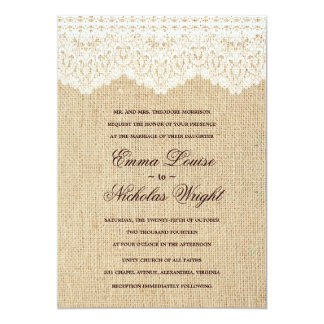 Invitaciones de la arpillera y del boda del cordón invitacion personalizada