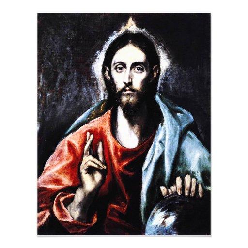 Invitaciones de la bendición de El Greco Cristo Comunicados
