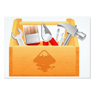 Invitaciones de la caja de herramientas invitación 12,7 x 17,8 cm