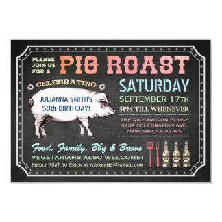 """Invitaciones de la carne asada del cerdo de la invitación 5"""" x 7"""""""