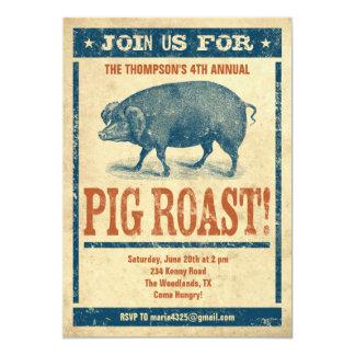"""Invitaciones de la carne asada del cerdo invitación 5"""" x 7"""""""