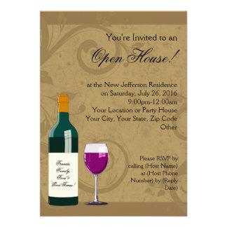 Invitaciones de la casa abierta, tema del vino invitacion personal