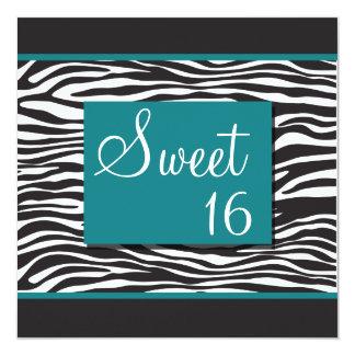 """Invitaciones de la cebra de la turquesa del dulce invitación 5.25"""" x 5.25"""""""