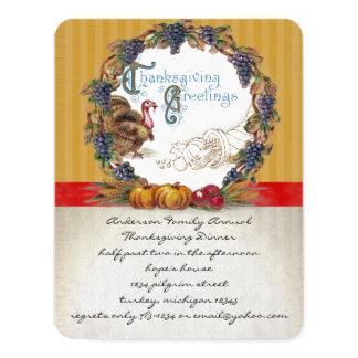 """Invitaciones de la cena de la acción de gracias de invitación 4.25"""" x 5.5"""""""