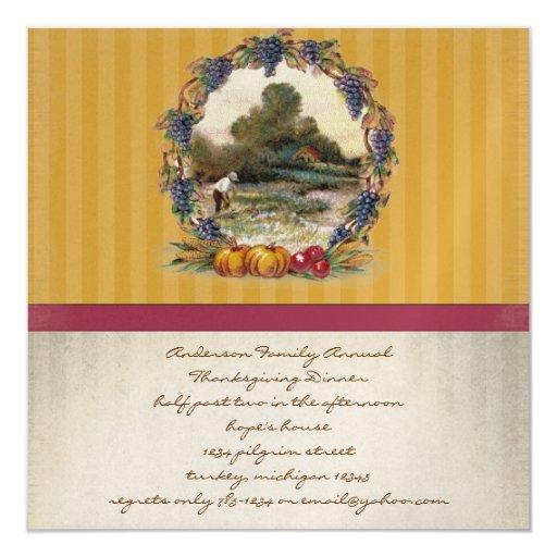 """Invitaciones de la cena de la acción de gracias de invitación 5.25"""" x 5.25"""""""