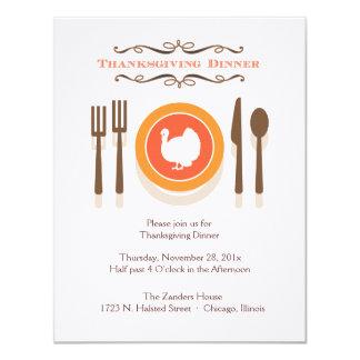 """Invitaciones de la cena de la acción de gracias invitación 4.25"""" x 5.5"""""""