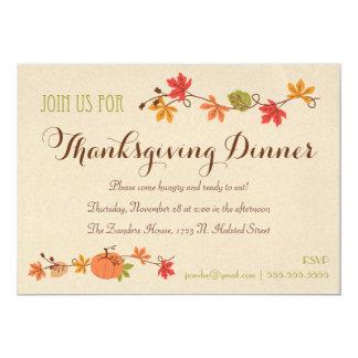 """Invitaciones de la cena de la acción de gracias invitación 5"""" x 7"""""""