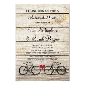 """Invitaciones de la cena del ensayo de la bicicleta invitación 3.5"""" x 5"""""""