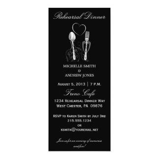 """Invitaciones de la cena del ensayo de la cuchara y invitación 4"""" x 9.25"""""""