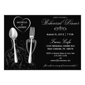 Invitaciones de la cena del ensayo de la cuchara y invitacion personalizada
