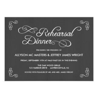 Invitaciones de la cena del ensayo de la pizarra anuncios personalizados