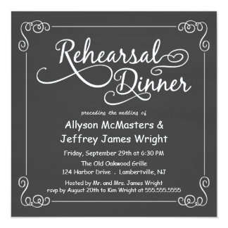"""Invitaciones de la cena del ensayo de la pizarra invitación 5.25"""" x 5.25"""""""