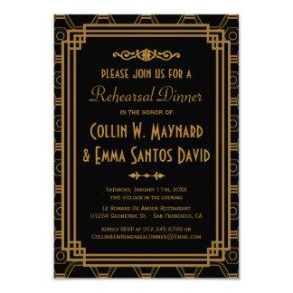Invitaciones de la cena del ensayo del art déco invitación 8,9 x 12,7 cm