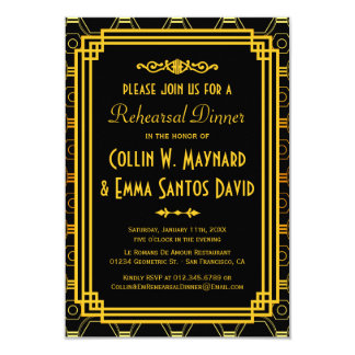 """Invitaciones de la cena del ensayo del art déco invitación 3.5"""" x 5"""""""
