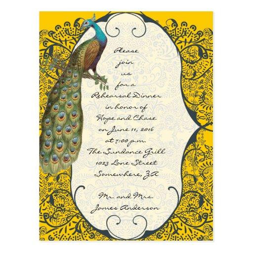 Invitaciones de la cena del ensayo del damasco del tarjetas postales