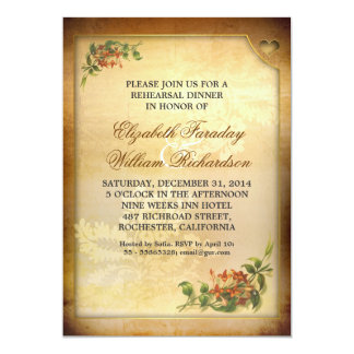invitaciones de la cena del ensayo del vintage invitación 12,7 x 17,8 cm