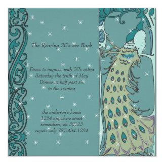 Invitaciones de la cena del pavo real de Nouveau Invitaciones Personales