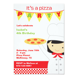 Invitaciones de la chica marchosa de la pizza invitación 12,7 x 17,8 cm