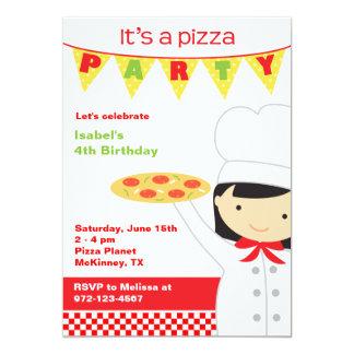 """Invitaciones de la chica marchosa de la pizza invitación 5"""" x 7"""""""