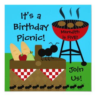 Invitaciones de la comida campestre del cumpleaños invitación 13,3 cm x 13,3cm