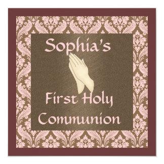 """INVITACIONES de la comunión santa de los chicas Invitación 5.25"""" X 5.25"""""""