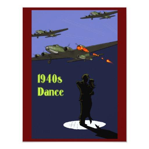 """invitaciones de la danza de los años 40 invitación 4.25"""" x 5.5"""""""