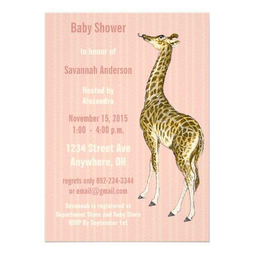 Invitaciones de la ducha de la niña de la jirafa d invitación