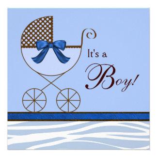 Invitaciones de la ducha del bebé de la cebra de B Invitacion Personal