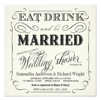 Invitaciones de la ducha del boda del par elegante comunicado personal