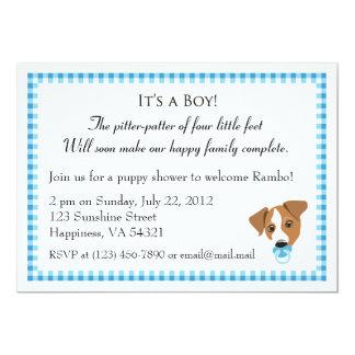 """Invitaciones de la ducha del perrito del muchacho invitación 5"""" x 7"""""""