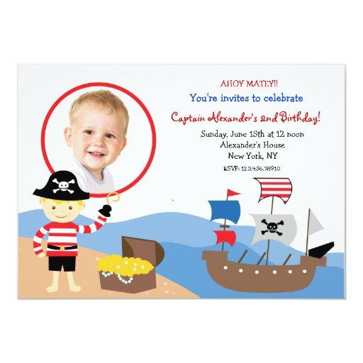 Invitaciones de la fiesta de cumpleaños de capitán invitación 12,7 x 17,8 cm