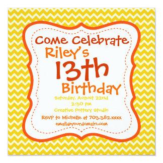"""Invitaciones de la fiesta de cumpleaños de Chevron Invitación 5.25"""" X 5.25"""""""