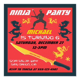 """Invitaciones de la fiesta de cumpleaños de Ninja Invitación 5.25"""" X 5.25"""""""