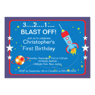 """Invitaciones de la fiesta de cumpleaños de Rocket Invitación 5"""" X 7"""""""