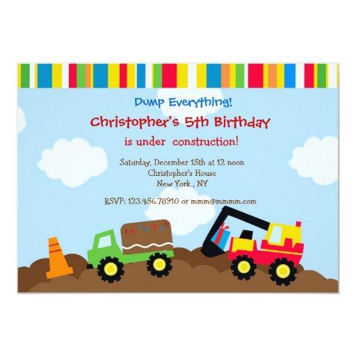 """Invitaciones de la fiesta de cumpleaños del camión invitación 5"""" x 7"""""""