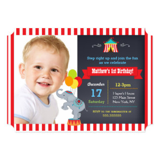 """Invitaciones de la fiesta de cumpleaños del circo invitación 5"""" x 7"""""""