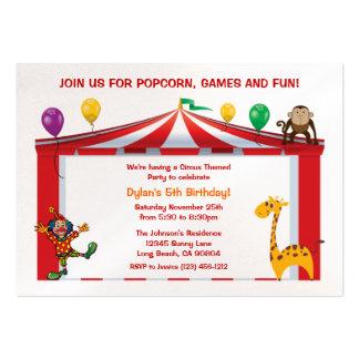 Invitaciones de la fiesta de cumpleaños del circo tarjetas de visita