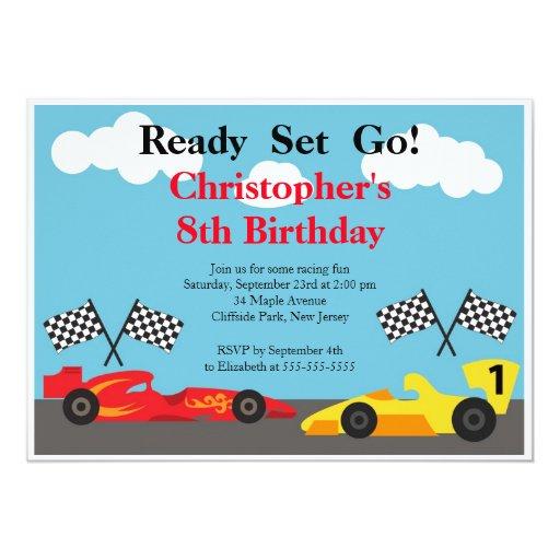 """Invitaciones de la fiesta de cumpleaños del coche invitación 5"""" x 7"""""""