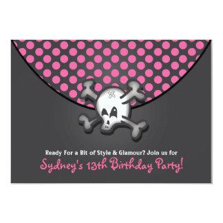 """Invitaciones de la fiesta de cumpleaños del cráneo invitación 5"""" x 7"""""""