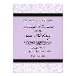 Invitaciones de la fiesta de cumpleaños del damasc invitación personalizada