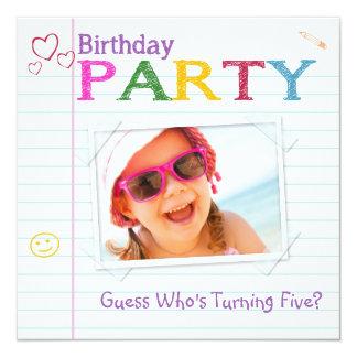 """Invitaciones de la fiesta de cumpleaños del Doodle Invitación 5.25"""" X 5.25"""""""